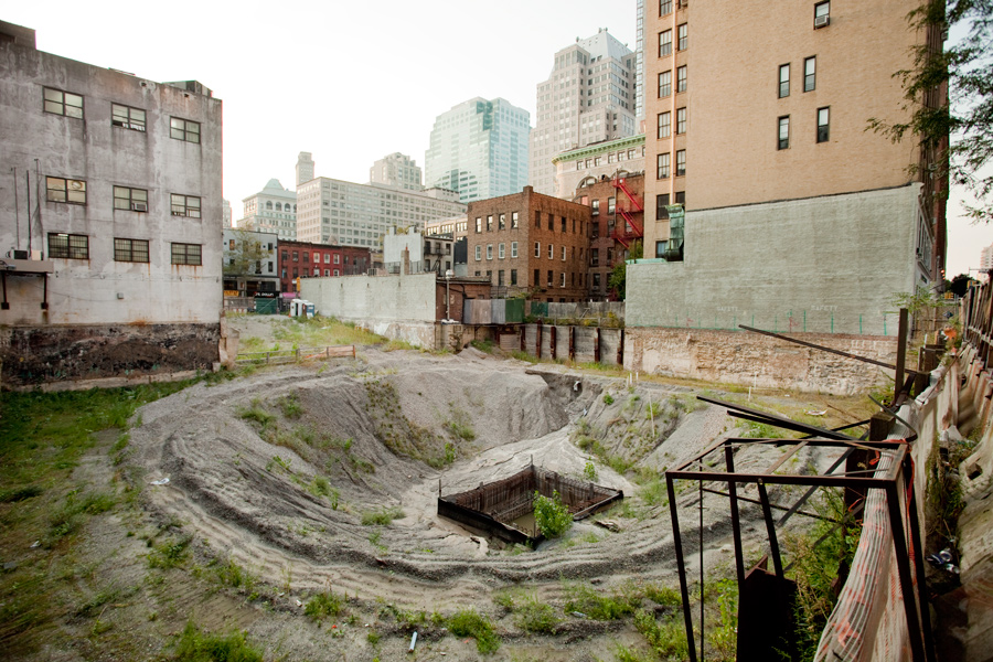 A crater in Downtown Brooklyn