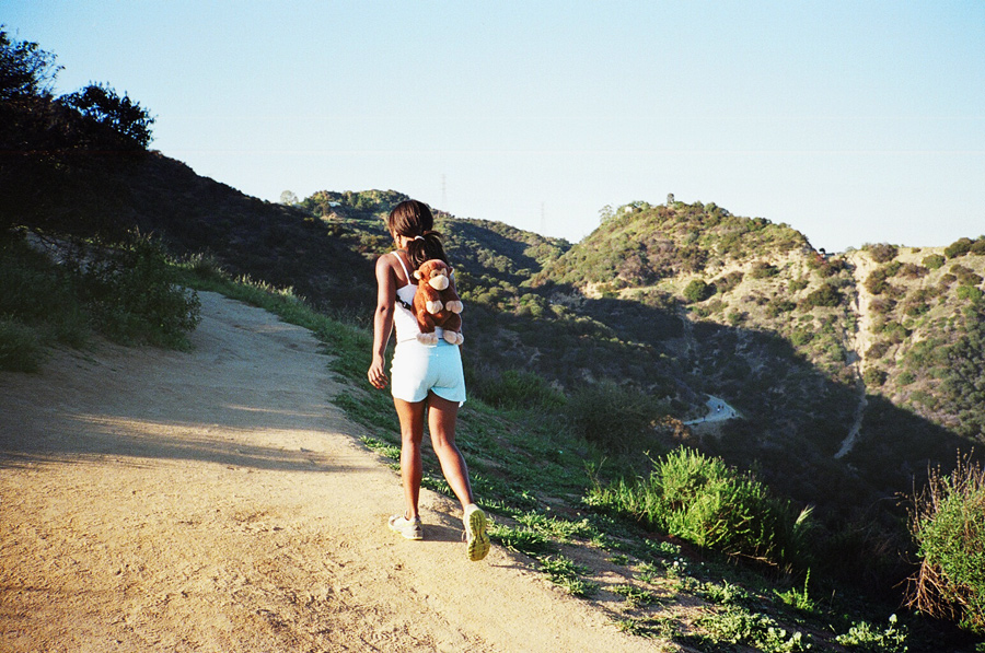 A girl hiking in Runyon Canyon in Los Angeles